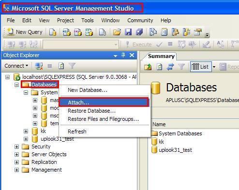 podłączanie bazy danych