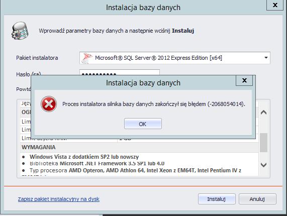błąd podczas instalacji sql server