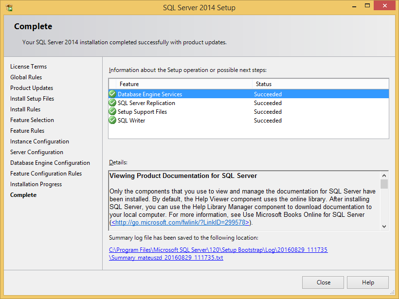 Microsoft SQL Server 2014 Express - Installation - Pomoc