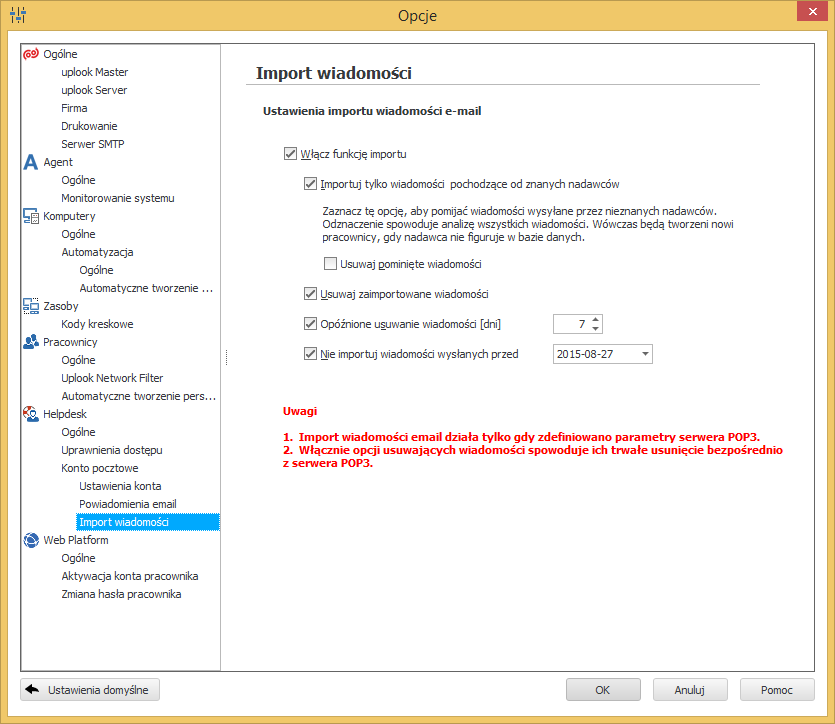 ustawienia odbioru zgłoszeń z serwera pop3