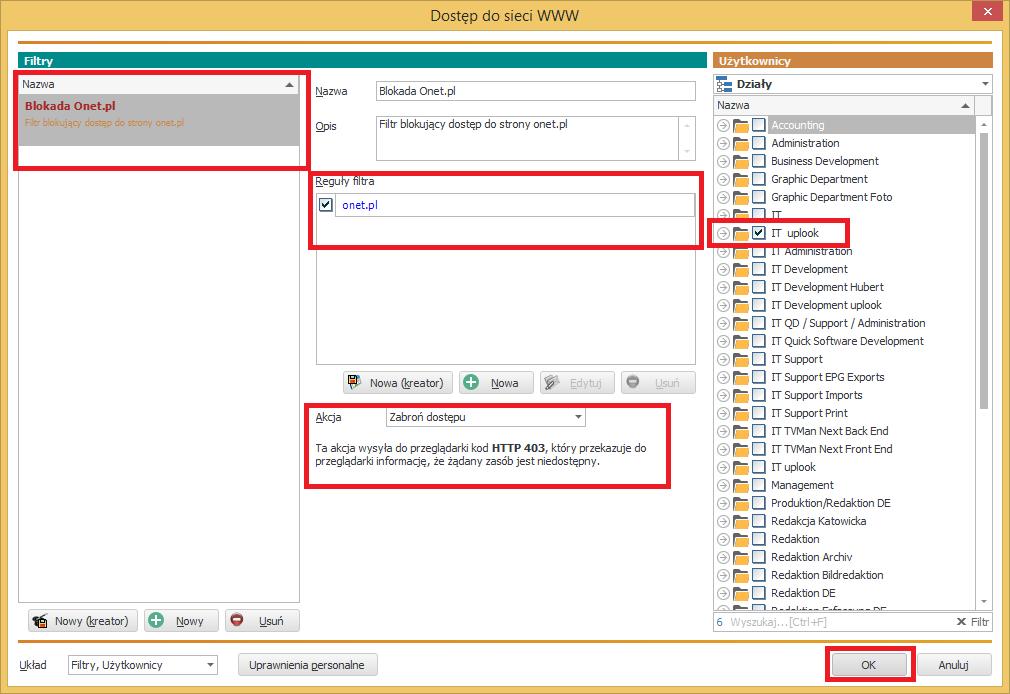 podsumowanie ustawień dla filtra sieci