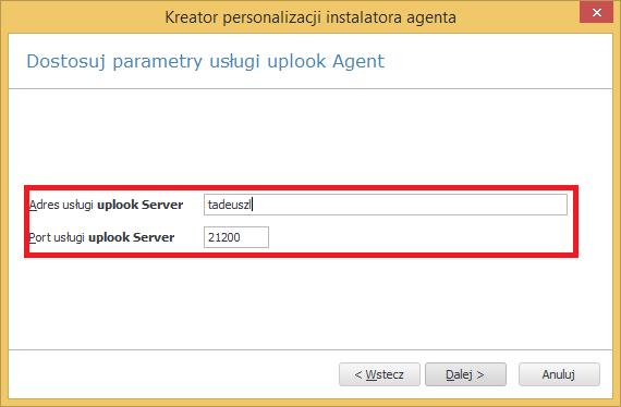 parametry połączenia z serwerem