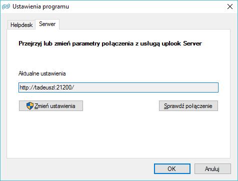 Parametry połączenia z serwerem uplook