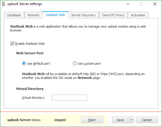 Settings enabling you to change web server ports to ensure a steady data flow