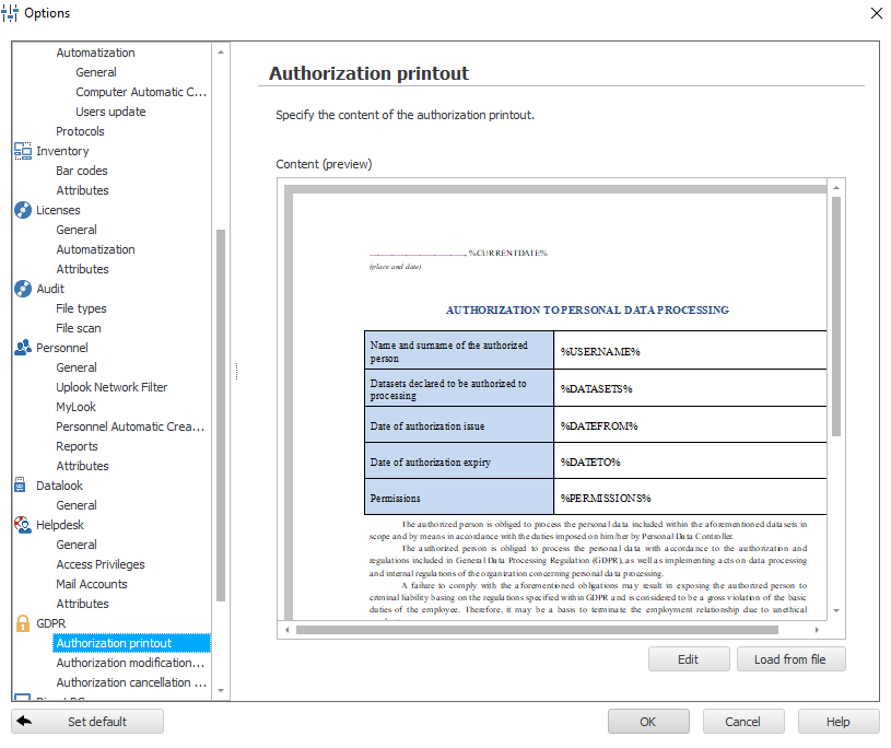 Authorizations to certain GDPR-related activities in statlook system