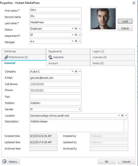 An example of employee form usage