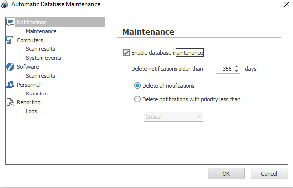 By doing maintenance frequently you keep only the data you need