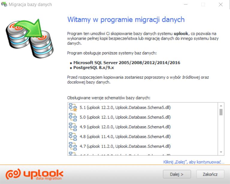 system uplook pozwala na przeniesienie plików z jednej bazy danych do nowej